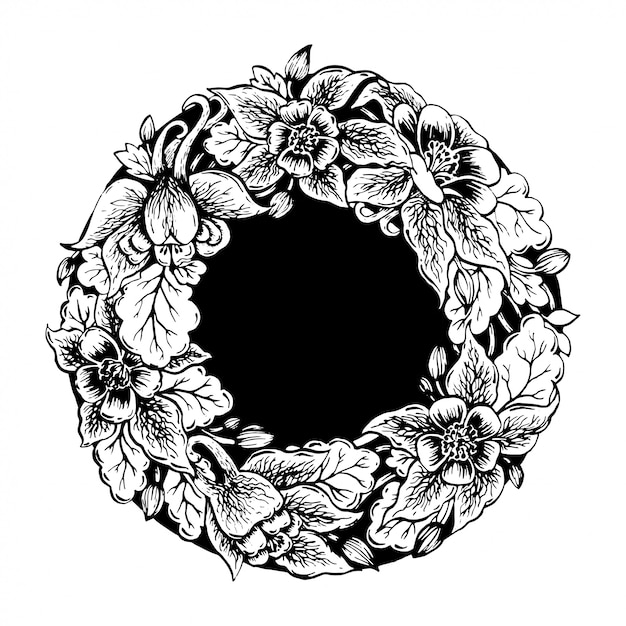花のフレーム。 Premiumベクター