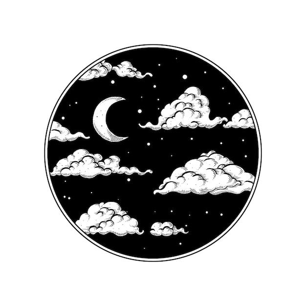 Ночное небо в кругу Premium векторы