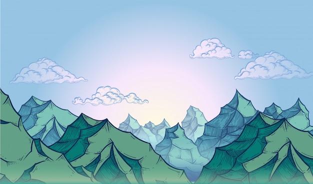 Горы на голубом небе Premium векторы