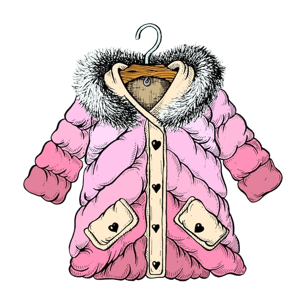 Девушка зимняя куртка иллюстрация Premium векторы