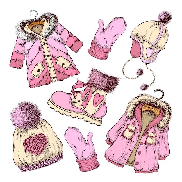冬服のセット。 Premiumベクター