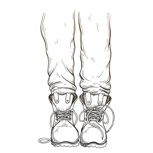Ноги в штанах и сапогах. Premium векторы