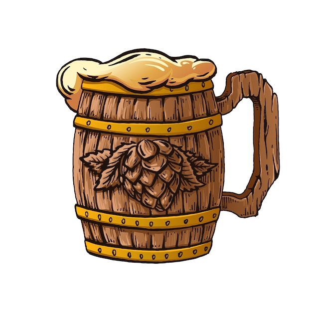 Деревянная пивная кружка рисованной иллюстрации. Premium векторы
