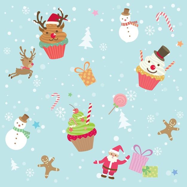 カップケーキクリスマスシームレスパターン Premiumベクター