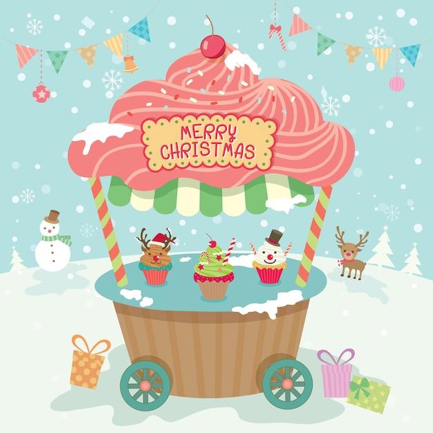メリークリスマスパーティーブース Premiumベクター
