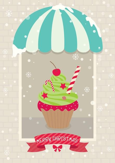 クリスマスカップケーキカフェ Premiumベクター