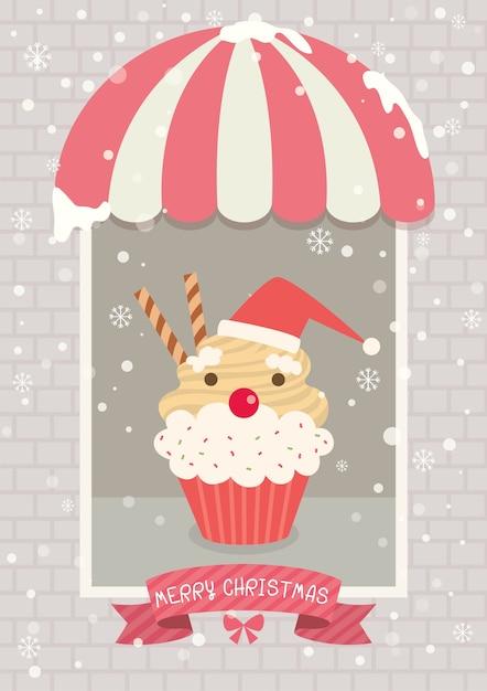 クリスマスカップケーキカフェサンタクロース Premiumベクター
