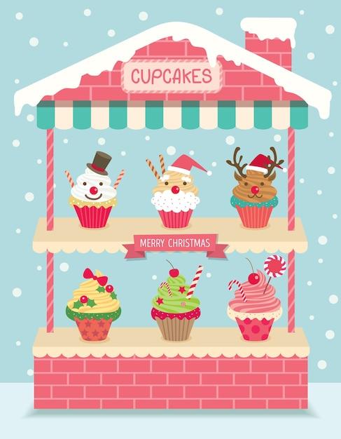 クリスマスカップケーキハウスシェルフ Premiumベクター