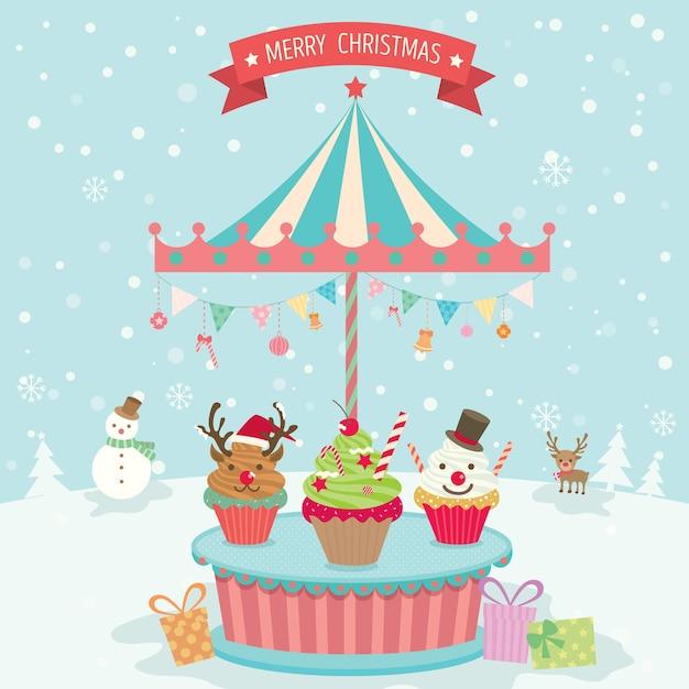 カップケーキメリーゴーラウンドクリスマス Premiumベクター