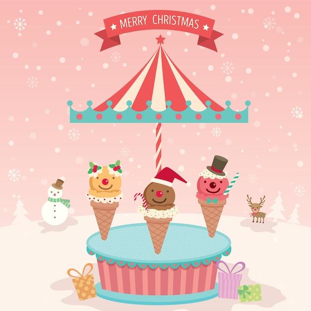 メリークリスマスアイスクリームメリーゴーラウンド Premiumベクター