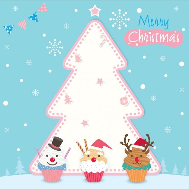 クリスマスカップケーキの木 Premiumベクター