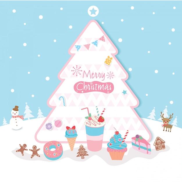 クリスマスツリーデザート Premiumベクター