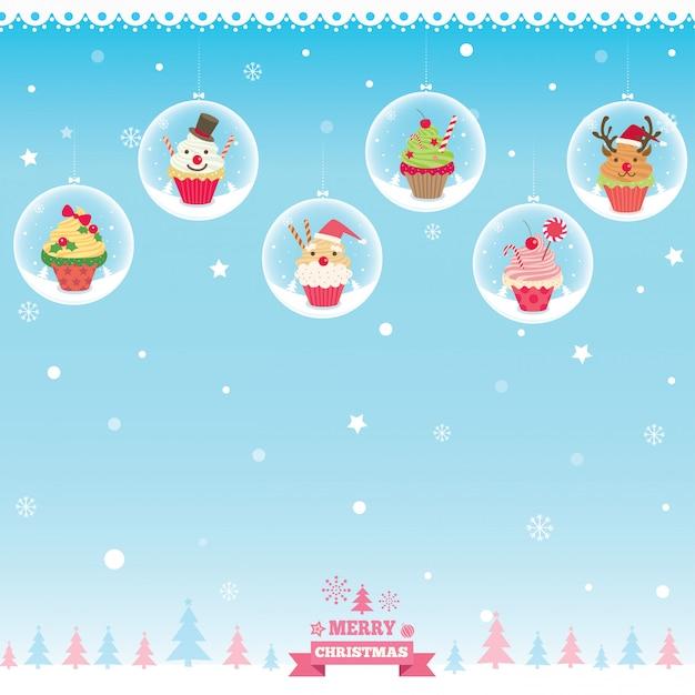 クリスマスカップケーキボール Premiumベクター