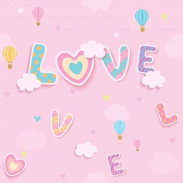 愛のピンクの空のシームレスなパターン Premiumベクター