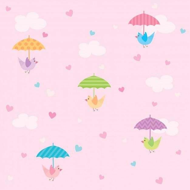 雨の心のシームレスなパターンと鳥 Premiumベクター