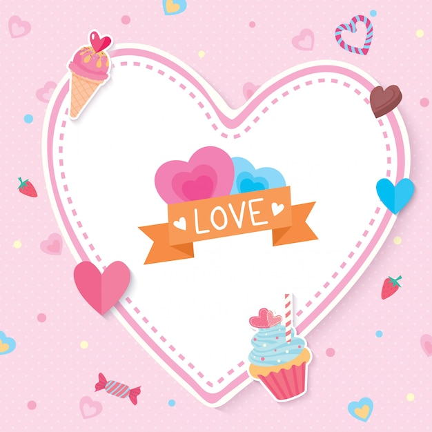 バレンタインカード Premiumベクター