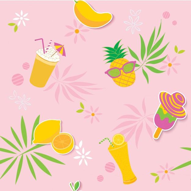 Лето желтый розовый узор Premium векторы