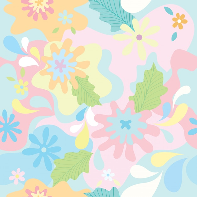 パステル調の背景色のシームレスパターンに花の偽装デザイン。 Premiumベクター