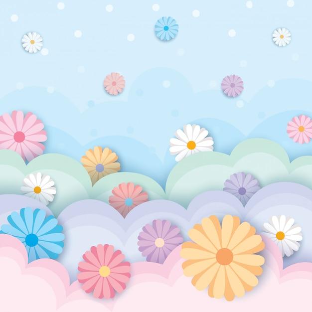 Весна-цветок-пастельный Premium векторы