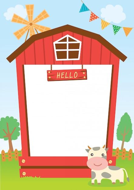 牛と納屋のフレーム Premiumベクター