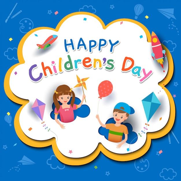 Счастливый детский день с мальчиком и девочкой, играющими в игрушки Premium векторы