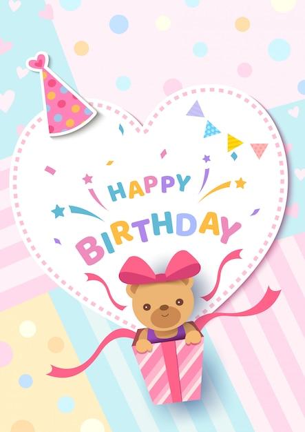 ハートフレームパステルカラーのプレゼントボックスにクマと幸せな誕生日グリーティングカード Premiumベクター