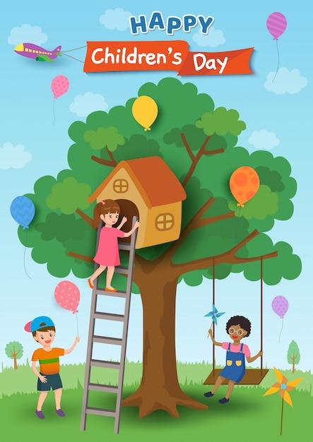 木の家とブランコで遊ぶ子供たちと幸せな子供の日のポスターデザインのイラスト Premiumベクター