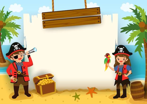 ビーチの背景にマップフレームを持つ男の子と女の子の海賊のイラスト。 Premiumベクター