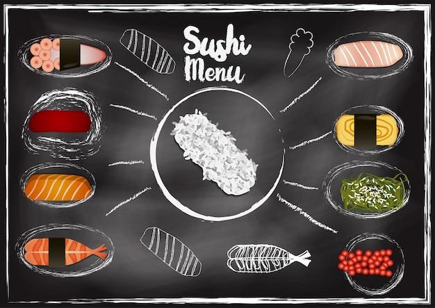 寿司のトッピング、黒板の背景 Premiumベクター