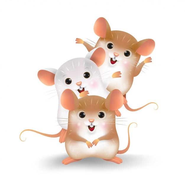 三匹のネズミの性格の漫画。 Premiumベクター