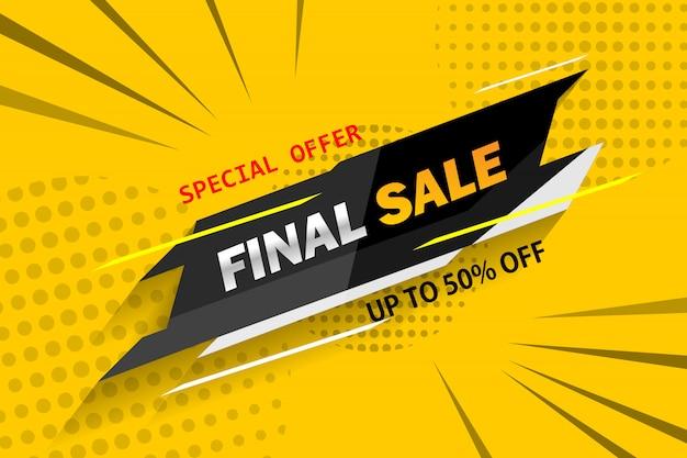 Специальное предложение окончательной продажи геометрических баннер с тенью на желтом фоне. Premium векторы