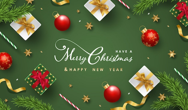 メリークリスマスと幸せな新年の背景に現実的なお祝いオブジェクト Premiumベクター