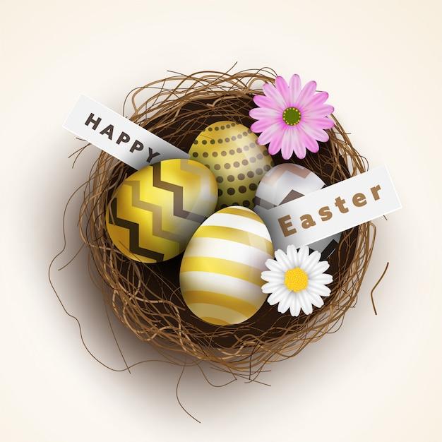 Счастливой пасхи, красочные яйца с птицами гнездятся и красивые цветы. Premium векторы