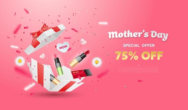 花と化粧品の白いギフトボックスを驚かせます。母の日デザイン。 Premiumベクター