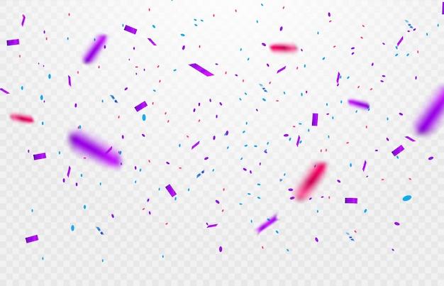 カラフルな光沢のある輝きや透明な背景に落ちるリボンとパーティー、お祝いや特別な誕生日の背景 Premiumベクター