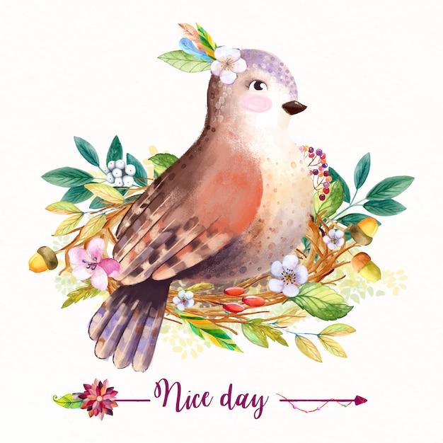 Акварель цветочный фон с листьями и птицей Premium векторы