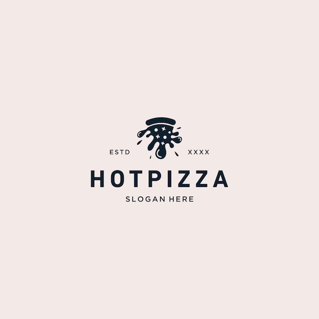 ホットピザのロゴのベクトル図 Premiumベクター