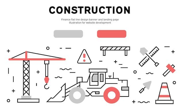 建設ウェブバナー Premiumベクター