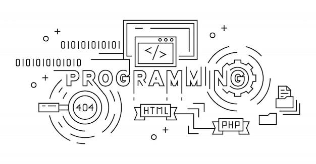 プログラミングモノラインデザインコンセプト Premiumベクター