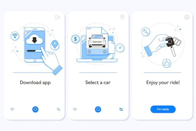 Прокат автомобилей на странице загрузки мобильного приложения. Premium векторы