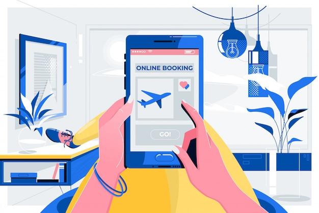 Онлайн бронирование путешествия концепция самолета Premium векторы