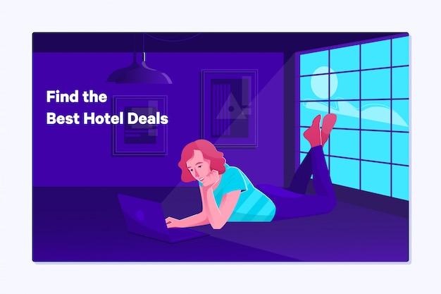 デジタルタブレットでの女性予約ホテル予約 Premiumベクター