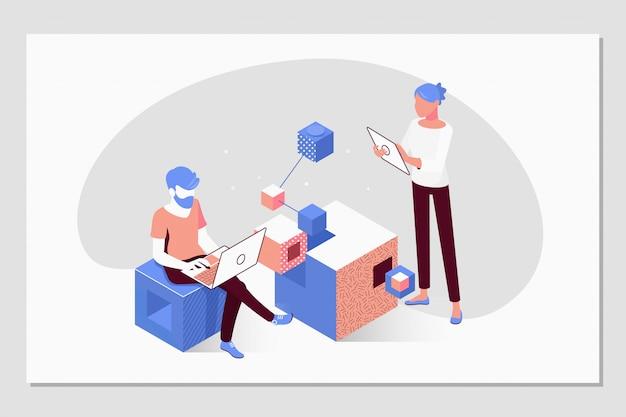 人々はチームで働き、目標を達成します Premiumベクター