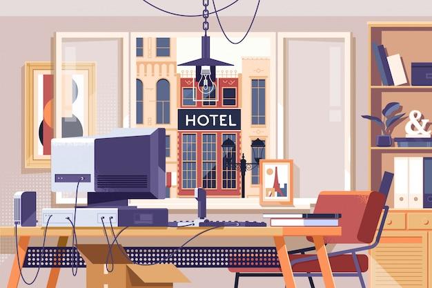 Комната рабочего места домашнего офиса Premium векторы