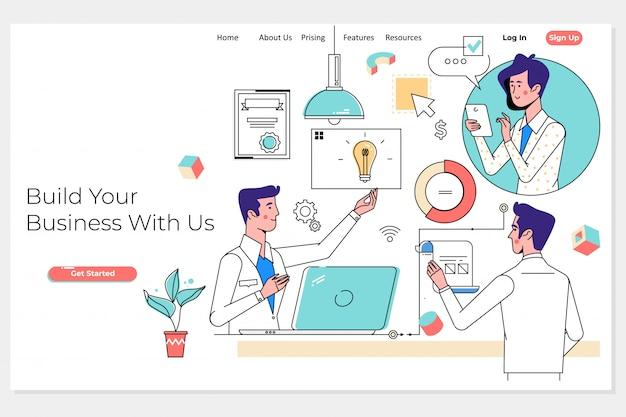 ビジネスチームとパートナーが一緒に作業するランディングページ Premiumベクター