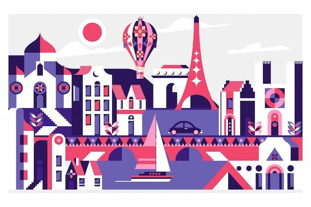 フランスのパリの有名なランドマークと旅行はがき Premiumベクター