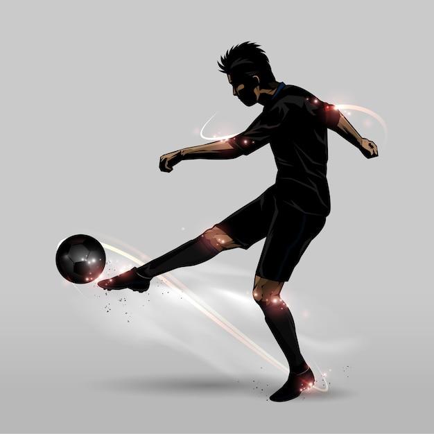 サッカー選手ハーフ・ボレー Premiumベクター