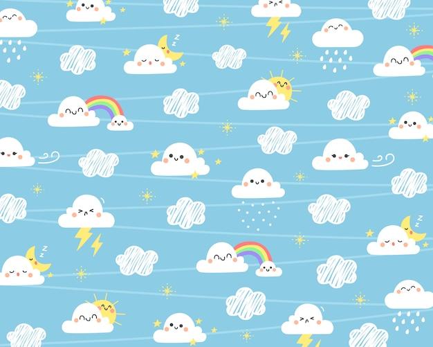 かわいい雲の背景。 Premiumベクター