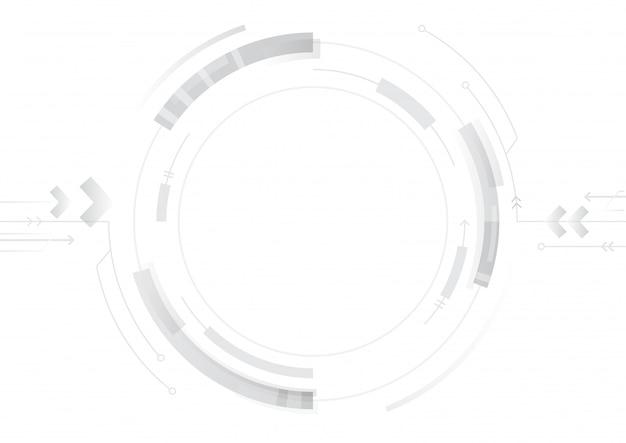 白い背景の上の抽象的な技術サークルデザイン Premiumベクター
