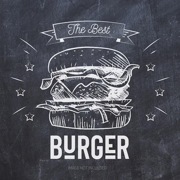 黒い黒板にハンバーガーグリルイラスト 無料ベクター